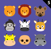 Flat Animal Faces Icon Cartoon Vector Set 5 (Safari). Flat Animal Icons EPS10 file format Royalty Free Stock Image