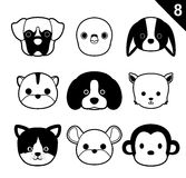 Flat Animal Faces Monochrome Icon Cartoon Vector Set 8 (Pet). Animal Icons EPS10 File Format Royalty Free Stock Image