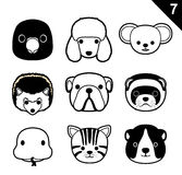 Flat Animal Faces Monochrome Icon Cartoon Vector Set 7 (Pet) Royalty Free Stock Images