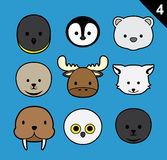 Flat Animal Faces Stroke Icon Cartoon Vector Set 4 (Arctic) Stock Images