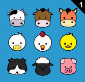 Flat Animal Faces Stroke Icon Cartoon Vector Set 1 (Farm Animals) Royalty Free Stock Image