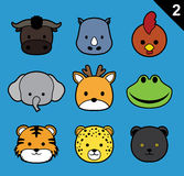 Flat Animal Faces Stroke Icon Cartoon Vector Set 2 (Forest) Stock Photos