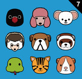 Flat Animal Faces Stroke Icon Cartoon Vector Set 7 (Pet). Animal Icons EPS10 File Format Stock Photography