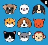 Flat Animal Faces Stroke Icon Cartoon Vector Set 8 (Pet) Royalty Free Stock Photography