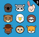 Flat Animal Faces Stroke Icon Cartoon Vector Set 3 (US) Stock Photo