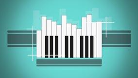 Flat animation piano keyboard like abstract sound level stock illustration