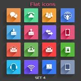 Flat Application Icons Set. Vector Application  Communication Icons Set in Flat Design with Long Shadows Stock Image