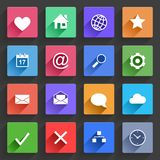 Flat Application Icons Set. Vector Application  Web Icons Set in Flat Design with Long Shadows Royalty Free Stock Photography