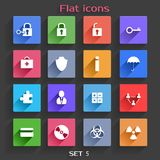 Flat Application Icons Set 5. Vector Application  Web Icons Set in Flat Design with Long Shadows Stock Image