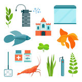 Flat aquarium set. Aquarium equipment, aquarium fish, shrimp and castle. Vector illustration Stock Photography