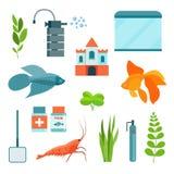 Flat aquarium set. Aquarium equipment, aquarium fish, shrimp and castle. Vector illustration Stock Photography