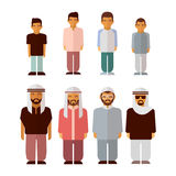 Flat arabic boys and men isolated on white background vector illustration