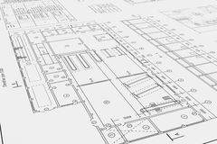 Flat architectural drawing and plan. Three-dimensional illustration of flat architectural drawing and plan Stock Illustration