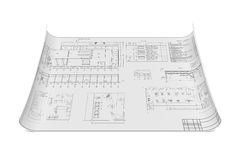 Flat architectural drawing and plan. Three-dimensional illustration of flat architectural drawing and plan Stock Photography