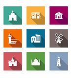 Flat architectural icons Royalty Free Stock Photography