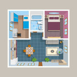 Flat Architectural Plan Top View Position. With divided rooms and furniture vector illustration Royalty Free Stock Photos
