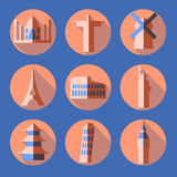 Flat architecture icons Royalty Free Stock Image