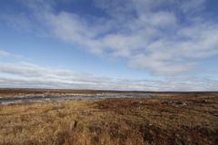 Flat arctic landscape in the summer with blue skies and soft clouds. Near Arviat Nunavut Canada stock image