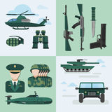 Flat Army Compositions. With four square  and flat icon set on military theme auto equipment and uniform vector illustration Royalty Free Stock Photos