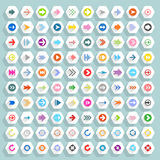 Flat arrow icon hexagon web button Stock Image