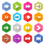 Flat arrow icon set hexagon web button. Flat arrow icon 16 set rounded hexagon web button on white background. Simple minimalistic mono long shadow style. Vector Stock Images