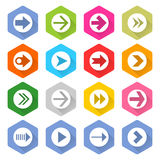 Flat arrow icon set hexagon web button. Flat arrow icon 16 set rounded hexagon web button on white background. Simple minimalistic mono long shadow style. Vector Stock Illustration