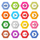 Flat arrow icon set hexagon web button. Flat arrow icon 16 set rounded hexagon web button on white background. Simple minimalistic mono long shadow style. Vector Royalty Free Illustration
