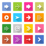 Flat arrow icon set square web button. Flat arrow icon 16 set rounded square web button on white background. Simple minimalistic mono long shadow style. Vector Stock Illustration