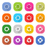 Flat arrow reload icon square web button Royalty Free Stock Photos