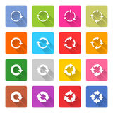 Flat arrow reload icon square web button Stock Photography