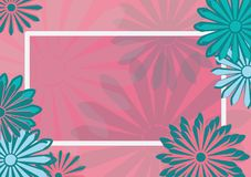 Flat art holiday card. Daisy on pink background.  Stock Photos