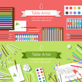Flat art painter workshop with paint supplies Royalty Free Stock Photography