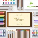 Flat art painter workshop with paint supplies Stock Photo