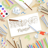 Flat art painter workshop with paint supplies Royalty Free Stock Image
