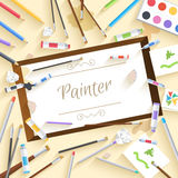 Flat art painter workshop with paint supplies. Equipment tools background. Vector illustration design Stock Photo