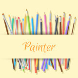Flat art painter workshop with paint supplies Royalty Free Stock Photo