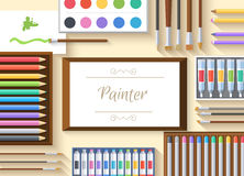 Flat art painter workshop with paint supplies Royalty Free Stock Images