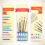 Flat art painter workshop with paint supplies Stock Image