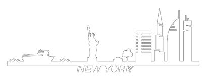 Flat artistic vector design of New York city buildings, skyscrapers, Statue of Liberty shape silhouettes drawn in minimalism slyle Royalty Free Stock Photography