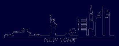 Flat artistic vector design of New York city buildings, skyscrapers, Statue of Liberty shape silhouettes drawn in minimalism slyle Royalty Free Stock Photo