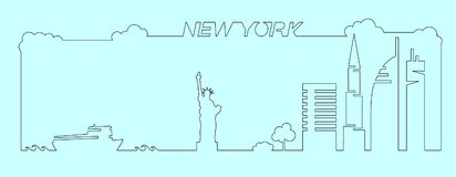 Flat artistic vector design of New York city buildings, skyscrapers, Statue of Liberty shape silhouettes drawn in minimalism slyle Stock Images