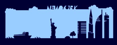 Flat artistic vector design of New York city buildings, skyscrapers, Statue of Liberty shape silhouettes drawn in minimalism slyle Stock Image