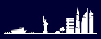 Flat artistic vector design of New York city buildings, skyscrapers, Statue of Liberty shape silhouettes drawn in minimalism slyle Royalty Free Stock Images