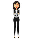 Flat asian business woman lady cartoon vector illustration Royalty Free Stock Photography
