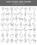 Flat Asian flora and fauna  elements. Animals, birds and sea lif. E simple line icon set. Vector illustration Royalty Free Stock Photography