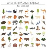 Flat Asian flora and fauna map constructor elements. Animals, bi. Rds and sea life isolated on white big set. Build your own geography infographics collection Royalty Free Stock Photos