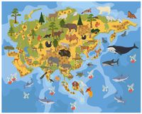 Flat Asian flora and fauna map constructor elements. Animals, bi. Rds and sea life isolated on white big set. Build your own geography infographics collection Stock Image