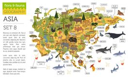 Flat Asian flora and fauna map constructor elements. Animals, bi. Rds and sea life isolated on white big set. Build your own geography infographics collection Royalty Free Stock Photography