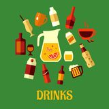 Flat assorted beverages and drinks Stock Image