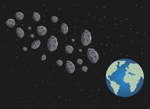 Flat asteroids and planet Earth. Space danger. Space. Illustration. The starry sky stock illustration